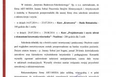 Rekomendacje Instytutu Badawczo- Szkoleniowego  Sp. z o.o z Olsztyna za Kurs Krawcowa oraz  Projektowanie i szycie ubrań z elementami   kreaowania wizrunku