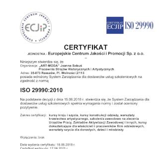 Art Moda certyfikat ISO